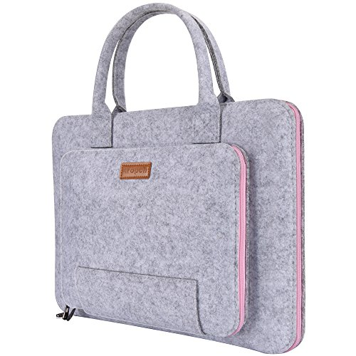 Ropch 15.6' Felt Laptop Sleeve with Handle Portable Notebook Computer Carrying Case Bag Pouch for 15 15.6 Inch Asus / Acer / Dell / HP / Lenovo / Toshiba, Grey & Pink