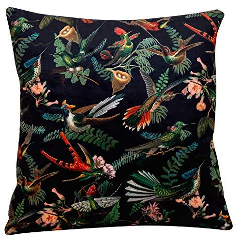 Cojín cuadrado de con estampado de pájaros botánicos de terciopelo. 17 x 17 (43 cm), colibríes, flores y hojas en tonos profundos de naranjas, verdes y azules un fondo negro. Relleno sintético