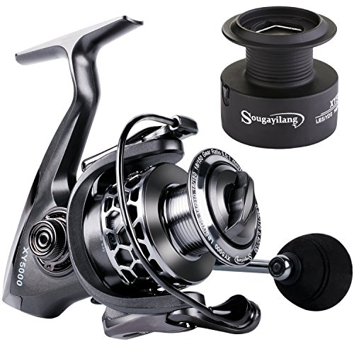Sougayilang Fishing Reel 13+1BB Light Weight Ultra Smooth Aluminum Spinning Fishing Reel with Free Spare Graphite Spool (XY2000)