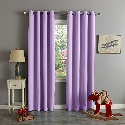 Best Home Fashion Blackout Curtain Panels - Premium Thermal Insulated Window Treatment Blackout Drapes for Bedroom - Antique Bronze Grommet Top – Lavender - 52