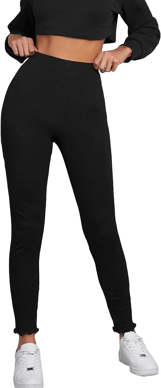 Floerns Women's Stretch Lettuce Trim Rib Knit Yoga Pants Workout Leggings