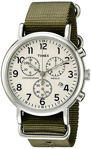 Timex Unisex TW2P71400 Weekender Chrono Green Double-Layered Nylon Slip-Thru Strap Watch