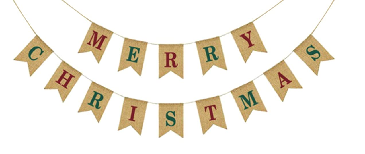 Merry Christmas Colorful Burlap Banner - Ready to Hang Holiday Decor - Festive Christmas Seasonal Winter Decoration - Xmas Party Photo Prop Decorations - Rustic Bunting Garland by Jolly Jon ?