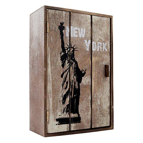 P-677 Armoire à clés en bois New York style vintage shabby