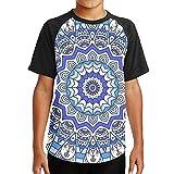 WoodWorths Blue Mandala Seamless Pattern Teenager Junior Boy's Girl Youth Short Sleeve T Shirt Tee Sports Shirts(L,Black)