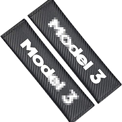 2 Piezas Coche Almohadillas para cinturón de seguridad Para Tesla Model 3 All Models,con Emblema Hombro Respirable Confort Protector Interior Estilo Accesorios