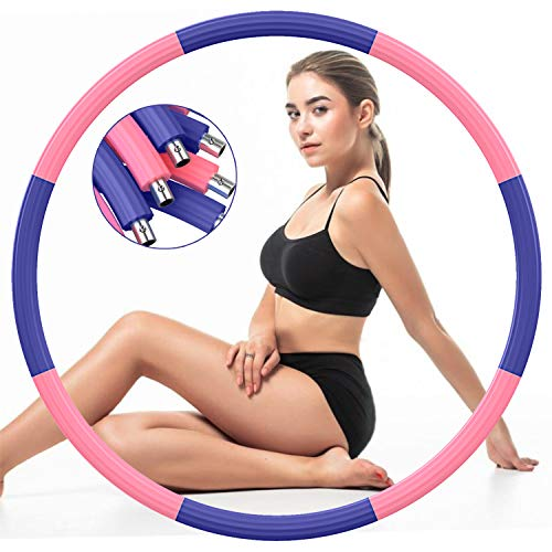DUTISON Exercise Hoop for Adults, Stainless Steel Fitness Workout Hoop for Weight Loss with Soft Foam and Weight Adjustable from 2.7 to 7lb