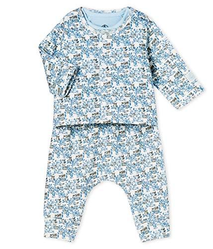 Petit Bateau Baby-Jungen Ensemble 3 Pieces_5025501 Bekleidungsset, Mehrfarbig (Marshmallow/Multico 01), 80 (Herstellergröße: 12M/74cm)
