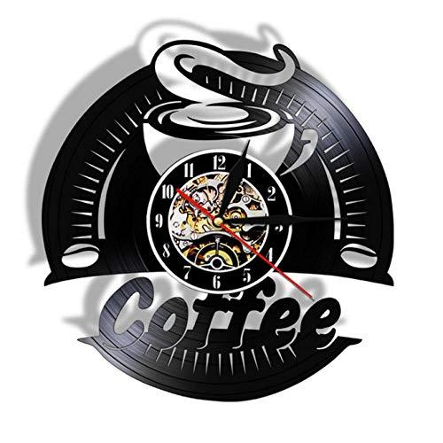 LWXJK Café Vinilo Reloj de Pared de Diseño Moderno Decorativo Reloj de la Cocina Pegatinas Vintage CD Relojes Cafe Barista la Tienda de Reloj de Pared