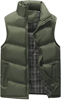 Men's Outdoor Puffer Vest Casual Padded Coat Stand Collar Cotton Down Jacket