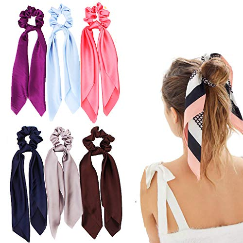 Silk Satin Hair Scrunchies, Hair Scarf with Bow Silk Elastic Hair Bands, Solid Colors Hair Scarf Silk Scrunchie for Ponytail Holder (6 Pcs Solid Colors-B)