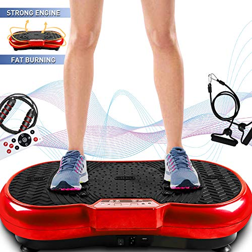 Bigzzia Vibration Platform with Rope Skipping, Whole Body Workout Vibration Fitness Platform Massage Machine for Home Training and Shaping, 99 Levels (Red)