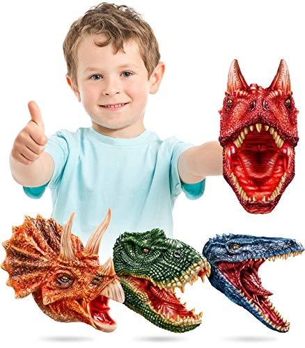 Geyiie Dinosaur Hand Puppet , Latex Dino Puppets Dinosaur Head Gloves, Dinosaur Toys Game Gifts for Boys,Toddler, Kids,T rex ,Triceratops, Mosasaur, Carnotaurus, Valentine Gifts, 4 Pack