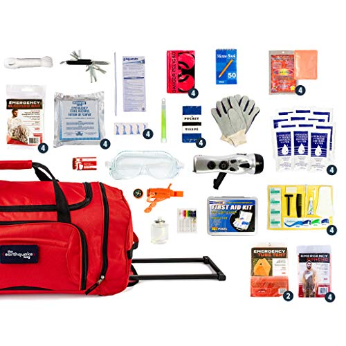 Complete Earthquake Bag - Emergency kit for Earthquakes, Hurricanes, Wildfires, Floods + other disasters (4 person, 3 days)