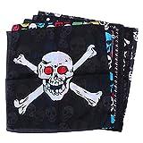 6 piezas de Halloween cráneo patrón pañuelo pirata accesorio para el pelo Halloween Cosplay fiesta decoración