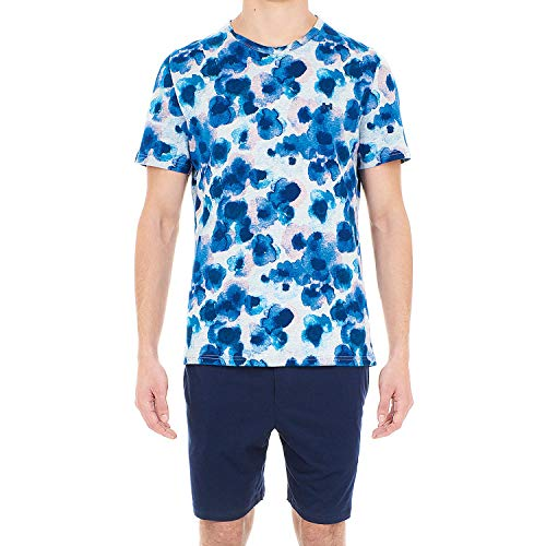 Hom Aqua Flower Short Sleepwear Ensemble de Pyjama Homme, Multicolore (Haut: Imprimé Fleurs Effet Aquarelles Surf Fond Gris Chiné, Bas: Marine 00ra), Medium (Taille Fabricant:M)
