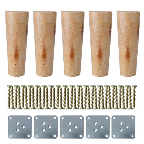 YeVhear 6 Zoll rund Massivholz Möbel Beine Sofa Bett Sofa Stuhl Bett Schreibtisch Schrank Schrank Füße Ersatz 5 Farben Holz