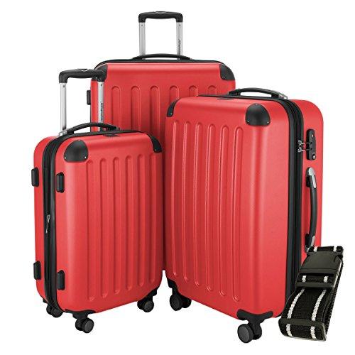 Hauptstadtkoffer - Spree - 3er-Koffer-Set Trolley-Set Rollkoffer Reisekoffer-Set Erweiterbar, TSA, 4 Rollen, (S, M & L), Rot +Gepäckgurt