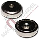 5 Neodym Flachgreifer Topfmagnete mit Bohrung und Senkung Ø16x5 mm N35 Magnet zum Verschrauben - Haftkraft 5 kg / 50 N