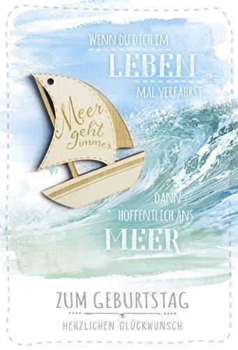 Geburtstagskarte maritim | Segelboot aus Holz | Karte Meer geht immer | Glückwunschkarte zum Geburtstag | Geburtstagskarten Set mit Umschlag | Klappkarte |Motiv: Segelboot