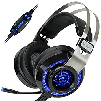 ENHANCE Scoria Gaming Headset for Computer & PS4 with USB 7.1 Surround Sound  Interactive Bass Vibration  Adjustable LED Lighting  In-Line Controls & Retractable Microphone - TeamSpeak Certified