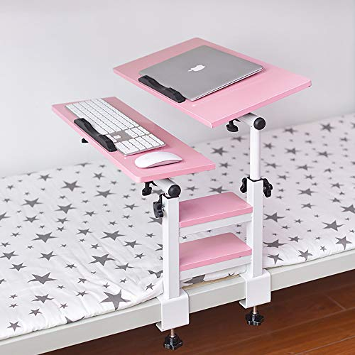 Portable Wooden Laptop Stand Foldable Desk Notebook Table Laptop Bed Tray Bed Table Flat Style Design, Play Games on Bed Table with Drawer,Pink,Basicmodel