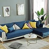 nohbi Universal Fundas de Sofás,Cojín de sofá de Terciopelo Minimalista Moderno,Tela Antideslizante Color sólido Funda de sofá-Blue_90×210cm,Protector para Sofás Acolchado Brazo