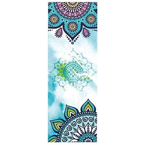 Yoga mat LKU Opvouwbare yogamat handdoek sport fitnessruimte Pilates oefenen draagbare antislip, Sky Blue uit