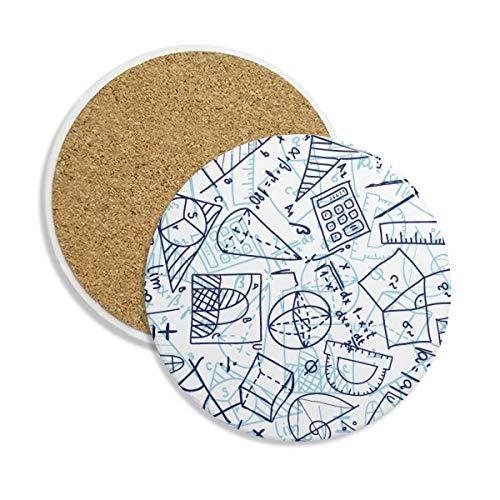 Blau handbemalt Mathematische Lineal Taschenrechner Illustration Stein Drink Keramik Untersetzer für Tasse Geschenk 2
