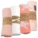 Organic Muslin Swaddle Blanket Oliver & Rain, Newborn Baby Girl, Starfish 4 Pack
