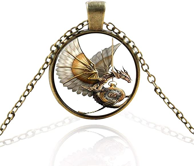 Vintage Bronze Tone Locket Picture Pendant Necklace Steampunk Dragon Included Free Brass Chain Gifts Personalized
