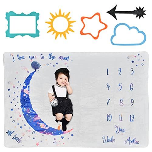 Manta Mensual Bebe Suave Franela Manta Mensual de Hito Personalizados Fondo de Fotografía con Marco y Corona para Recién Nacido Regalo Baby Shower Niños Niñas, Manta Mensual De Hito Para Bebé