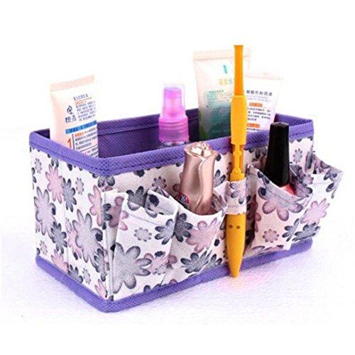 MuSheng(TM) Non - tissé de petites fleurs cosmétiques boîte de rangement pliable (Violet)
