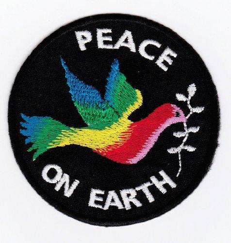 Aufnäher Bügelbild Aufbügler Iron on Patches Applikation Friedenstaube Peace on Earth Zeichen
