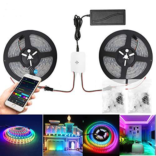 WiFi Dreamcolor LED Strip Streifen WS2811 IC, 10M(2 * 5) Wasserdicht IP65 RGB 5050 150 * 2leds LED Leiste Lichtstreifen Sync mit Musik,kompatibel mit Alexa, Google Assistant, Multicolor Chasing Effekt