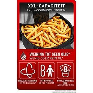 Tefal EY701D Easy Fry XXL Heißluftfritteuse (1700 Watt, Fassungsvermögen: 1,6 kg, Timer, 8 automatische Menüs) Schwarz/Edelstahl