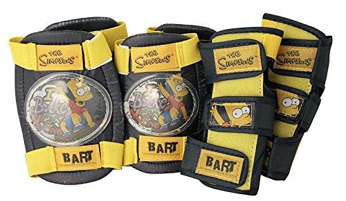 The Simpsons 808863 Set de Protection Enfant, Coudières + Genouillères, Protèges Poignets Coudes + Genoux + poignées Mixte, Noir et Jaune, Taille Ajustable