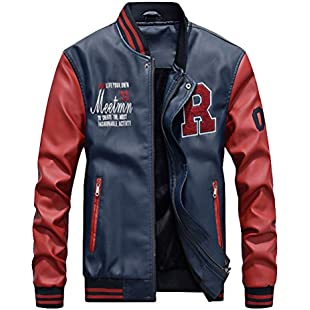 Vogstyle Men's PU Leather Varsity College Baseball Jacket Baseball Bomber Coat Dark Blue L