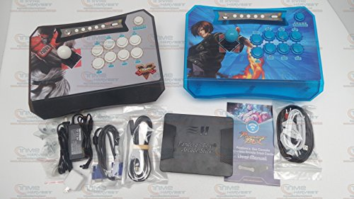 Pandora Box 6 Wireless Arcade 1300 Games Controller Joystick kit for XBOX360 PS3 PC Games Fighting 2 Players Wireless Stick (Black & Blue)