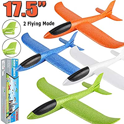 "4 Pack Airplane Toys, 17.5"" Large Throwing Foam Plane, 2 Flight Mode, Foam Gliders, Flying Aircraft, Birthday for Kids 3 4 5 6 7 8 9 Year Old Boy,Outdoor Sport Game Toys, Party Favors by BooTaa"