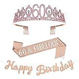Taumie 18 Anni di Compleanno Corona, Cristallo Strass Tiara Donna, Corona per Compleanno 18, Compleanno Sash, Striscioni Compleanno, Feste di Compleanno Ragazza Glitter Decor (60)