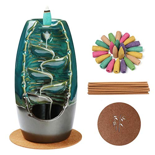 Ceramic Backflow Incense Burner Smoke Waterfall Incense Holder for Aromatherapy Ornament Office Home Decor Blue Gift Set with 120 Backflow Incense Cones, 30 Incense Stick, 1 Piece of Mat