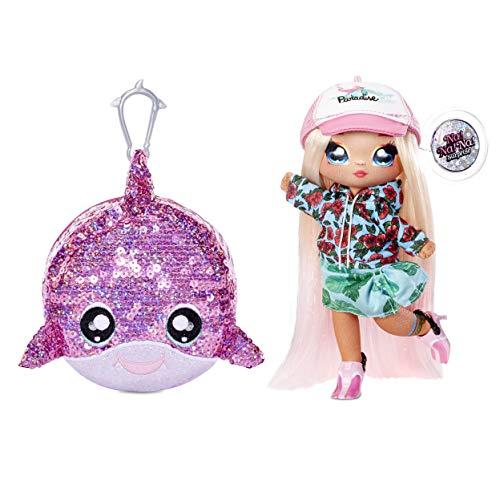 Na Na Na Surprise 2-in-1 Fashion Puppe und glitzernde Pailletten Pom Geldbörse Sparkle Serie - Krysta Splash, 19 cm Surferpuppe