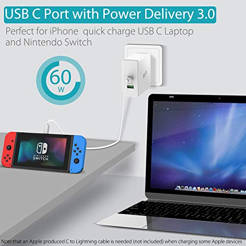 Quntis 60W USB C Ladegerät Power Delivery 3.0+18W Quick Charge 3.0 USB A Port+1,5m USB C-C Kabel, Typ C Netzteil für MacBook, iPad Pro 2018, iPhone XS/XR/8, Galaxy S9/S8+, Huawei, Pixel 3, Switch