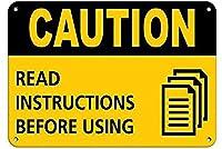 注意使用する前に指示を読んでください注意ブリキの看板壁の装飾金属ポスターレトロなプラーク警告看板オフィスカフェクラブバーの工芸品