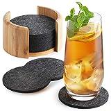 Sidorenko Filz Untersetzer rund für Gläser - 10er Set Ink. Box - Design Glasuntersetzer in dunkelgrau für Getränke, Tassen, Bar, Glas - Tischuntersetzer Filzuntersetzer