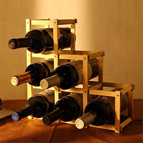 LL-COEUR Porte-bouteille Décoration Etagere à Vin Original Armoire pour 6/10 Bouteilles Main-pur Artisanat en Bois Idée Cadeau (320 x 120 x 320 mm-6 bouteilles)