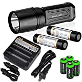 FENIX TK35 2015 version 960 Lumen Tactical LED Flashlight with 2 x Fenix ARB-L2M 2300mAh Li-ion rechargeable batteries, 4 X EdisonBright CR123A Lithium batteries, Fenix ARE-C1 18650 batery charger, in-car Charger adapter, Holster & Lanyard complete package