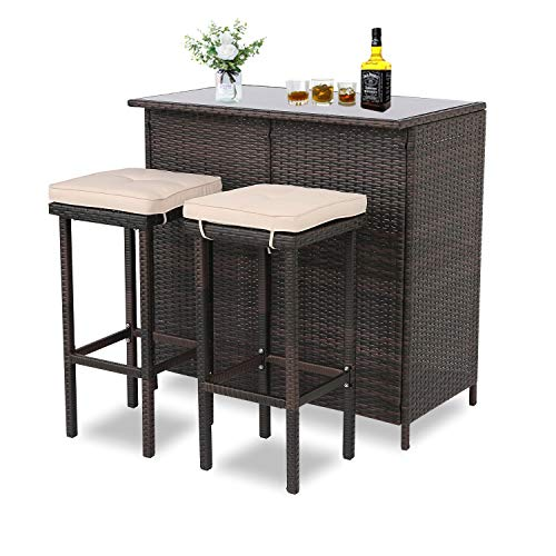 BPTD Outdoor Bar Set Patio Furniture 3 Pieces Wicker Bar Table Set Glass Bar and Two Stools with Cushions for Patios, Backyards, Porches, Gardens or Poolside (Mix-Brown/Brown)