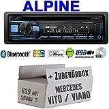 Autoradio Radio Alpine CDE-203BT Bluetooth CD USB MP3 1-DIN Auto Einbauzubehör - Einbauset für Mercedes Vito/Viano 639 - JUST Sound Best Choice for caraudio